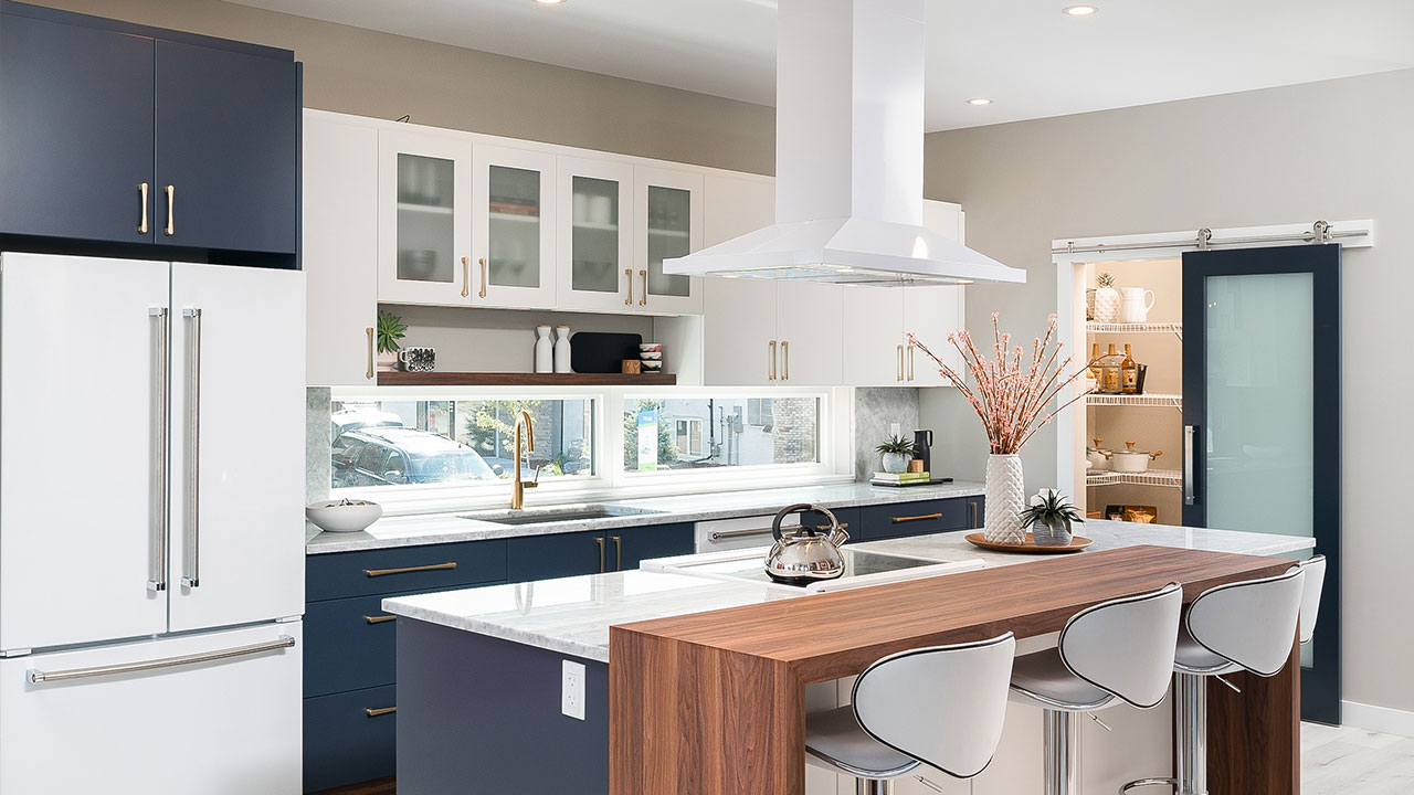 Bold designs and colours in the kitchen of this Foxridge home.