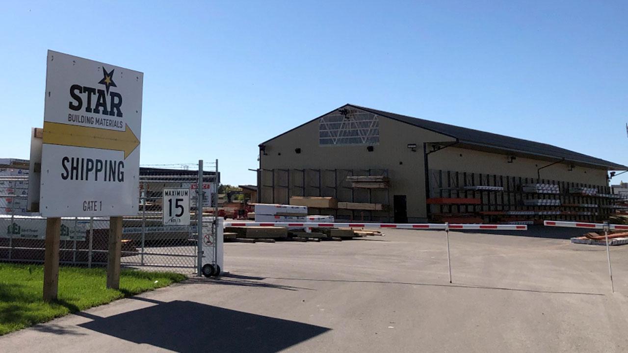 Shipping yard entrance at Star Building Materials in Winnipeg.