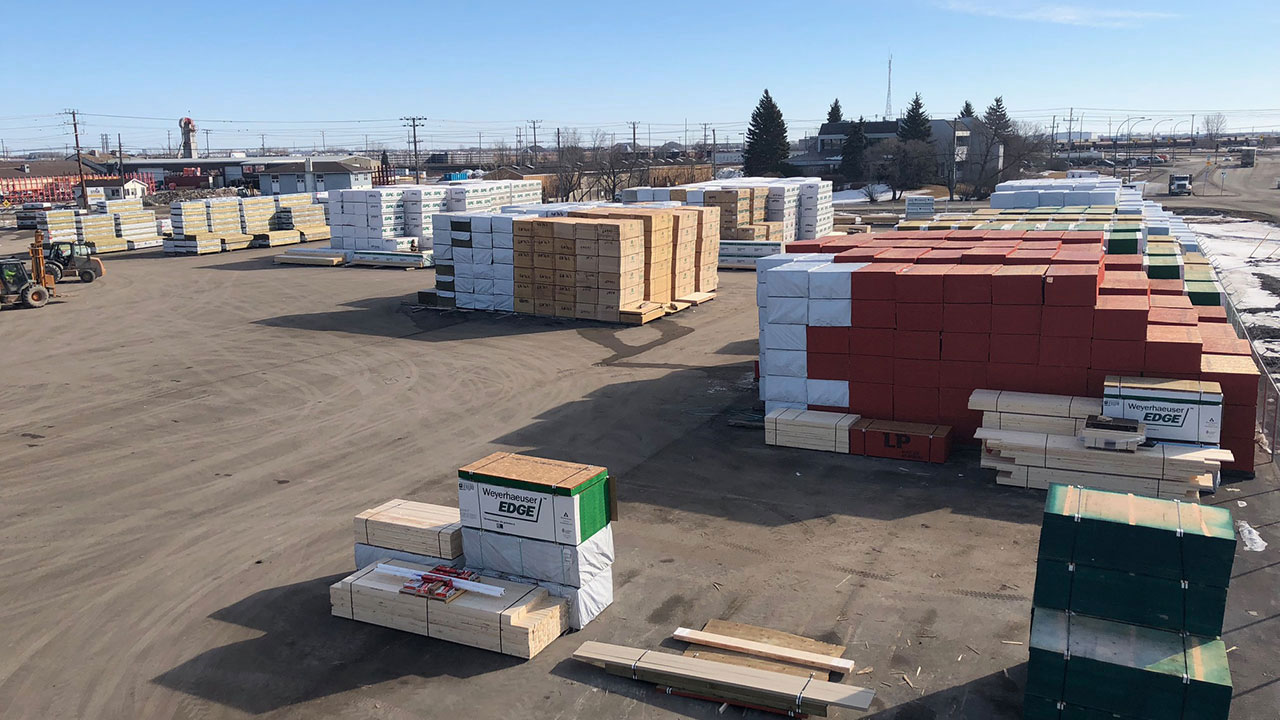 A variety of different building supplies available in the shipping yard at Star Building Materials.