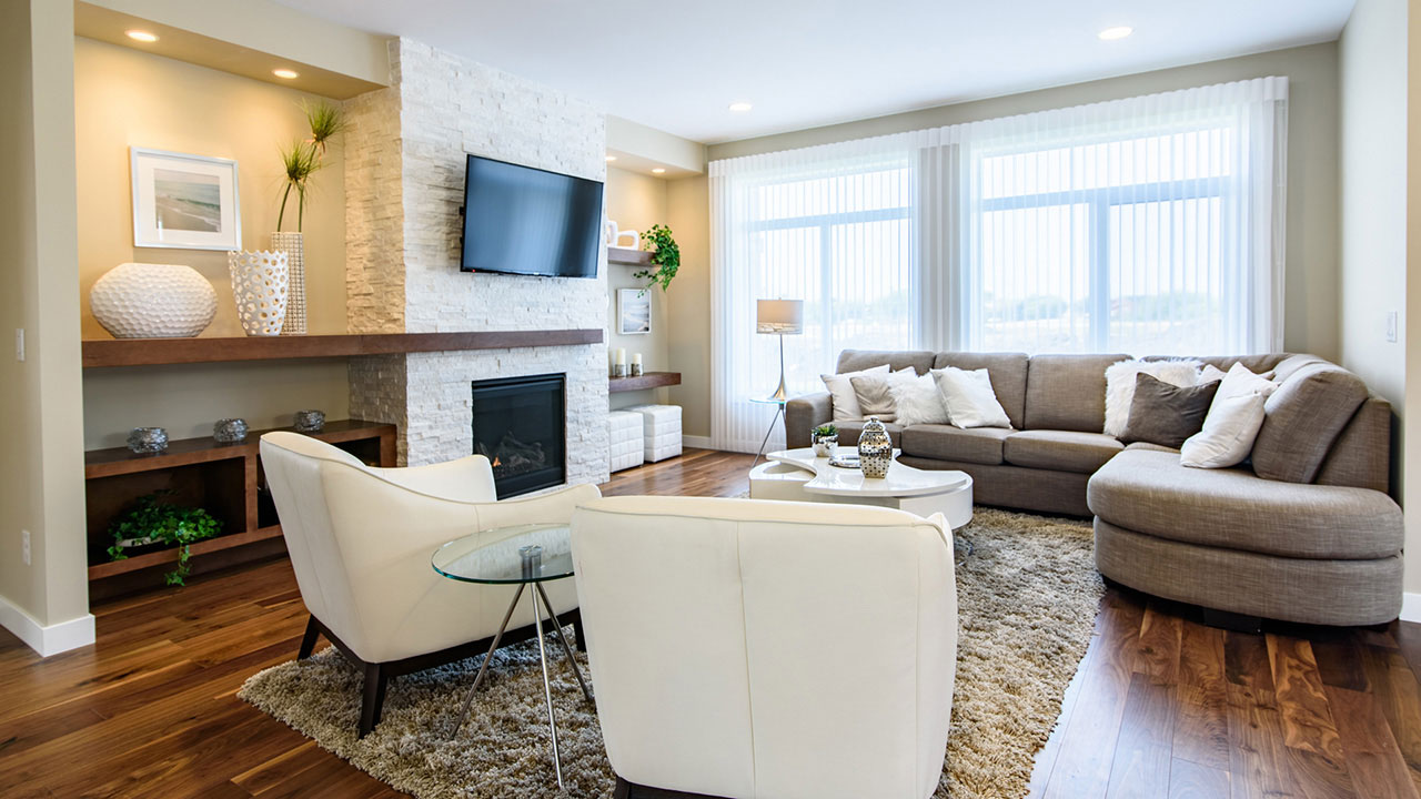 Relaxation awaits in this living room, in a home built by Sterling Homes in Winnipeg.