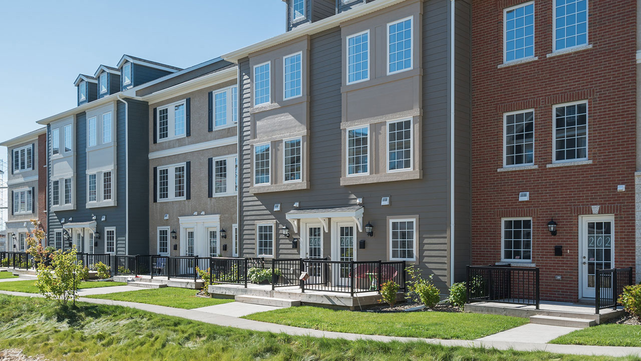 Exterior of the Bluestem townhomes in Sage Creek.