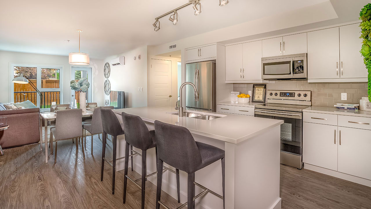 A kitchen in a model with the Charles condos development in Winnipeg.