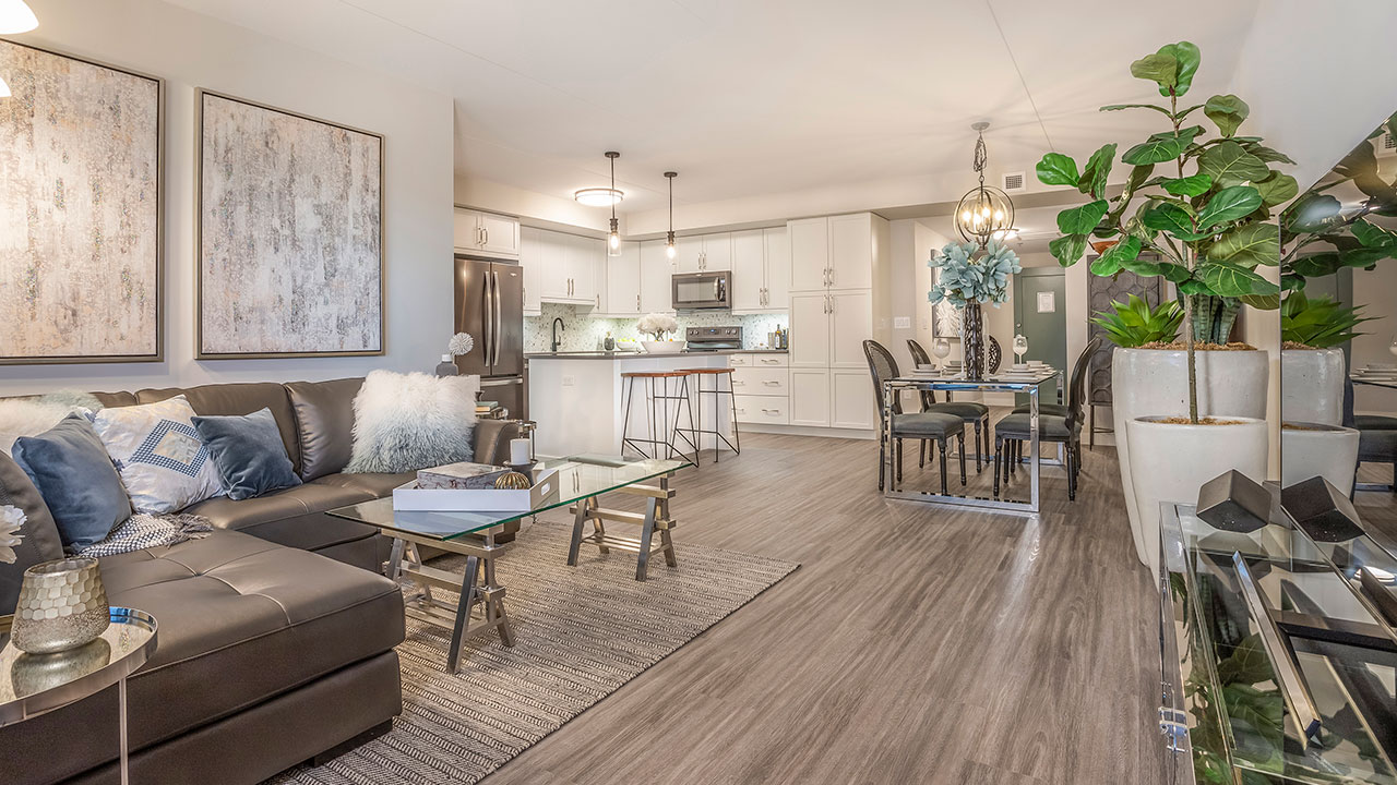 The living room of a unit within The Rise by Streetside Developments Winnipeg.