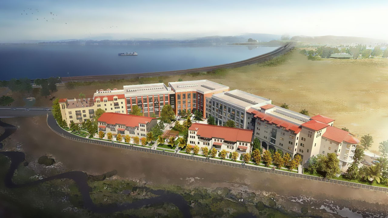 Aerial rendering of Hercules Bayfront's The Exchange, a US multi-family project.