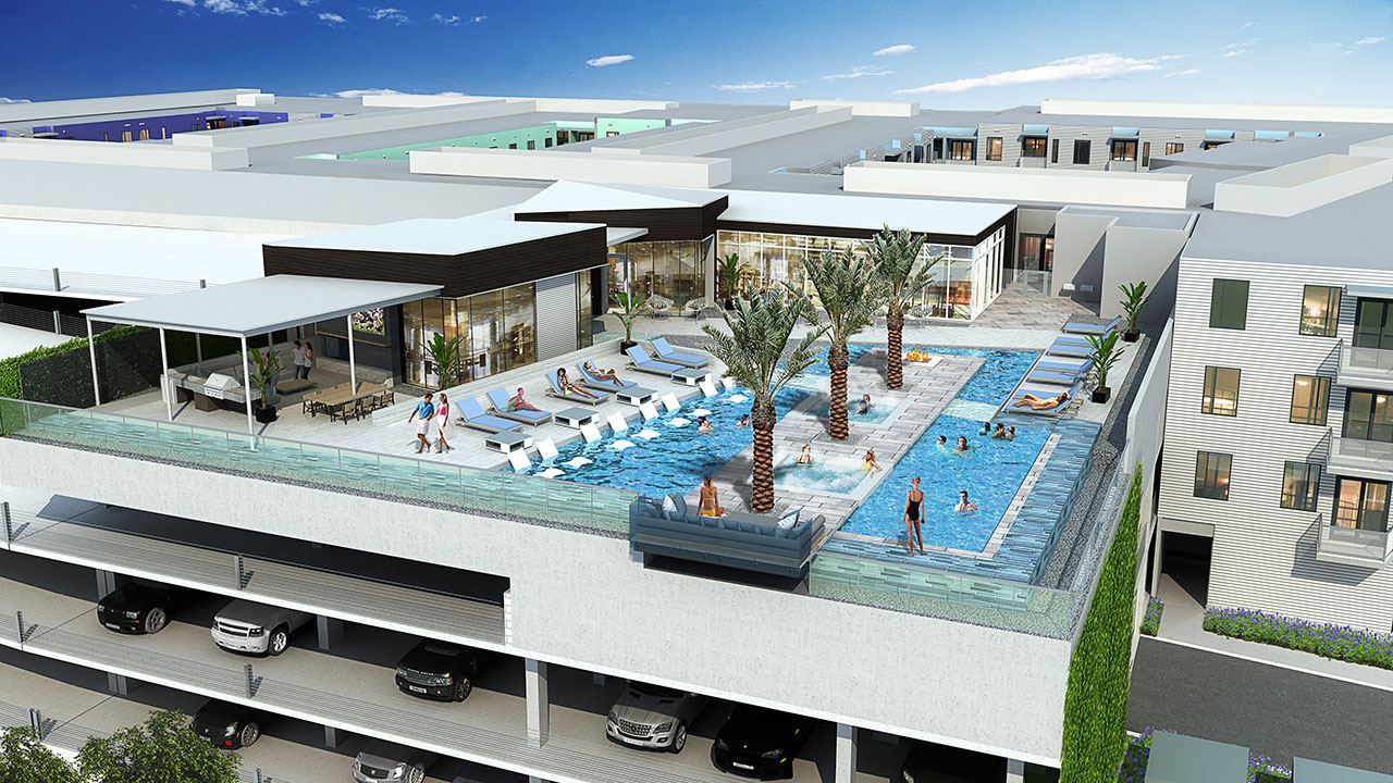 Rendering of The Pearl's amenity deck, a US multi-family project.