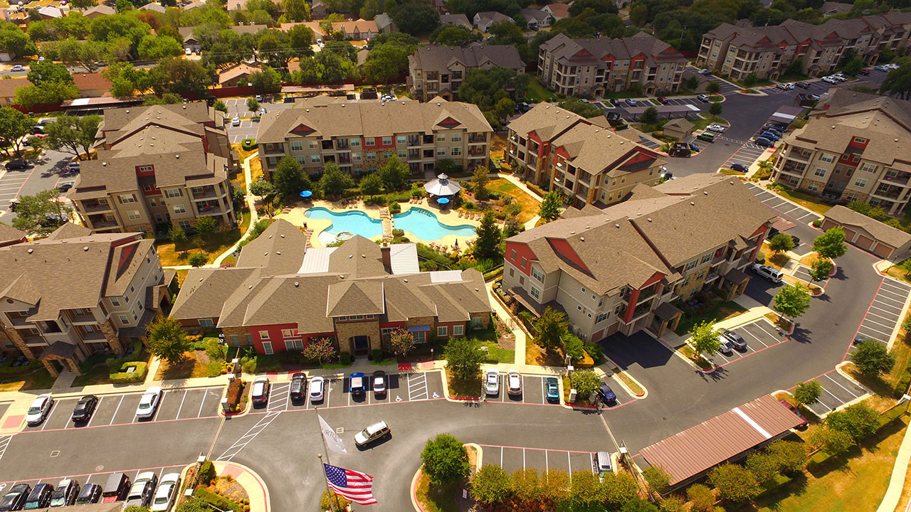 Aerial view of Turtle Rock, a US multi-family project