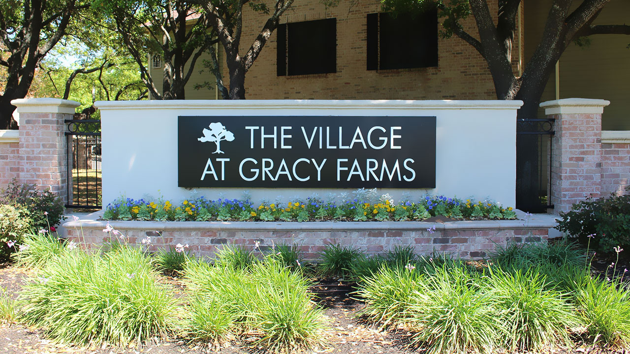 Entranceway to The Village at Gracy Farms, a US multi-family project