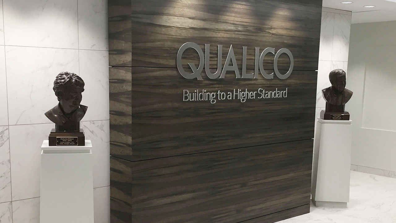 Front entrance of the Qualico office in Calgary.