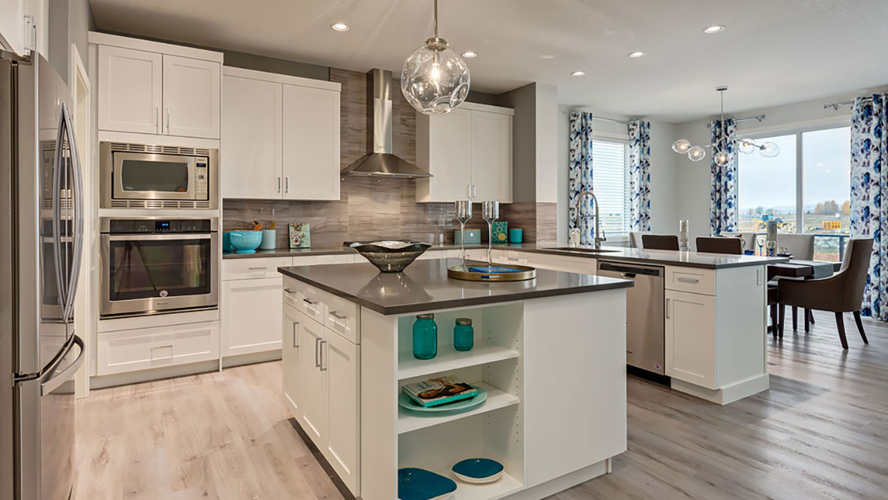 Kitchen and dining room in the Piece model, built by Pacesetter Homes in Edmonton.