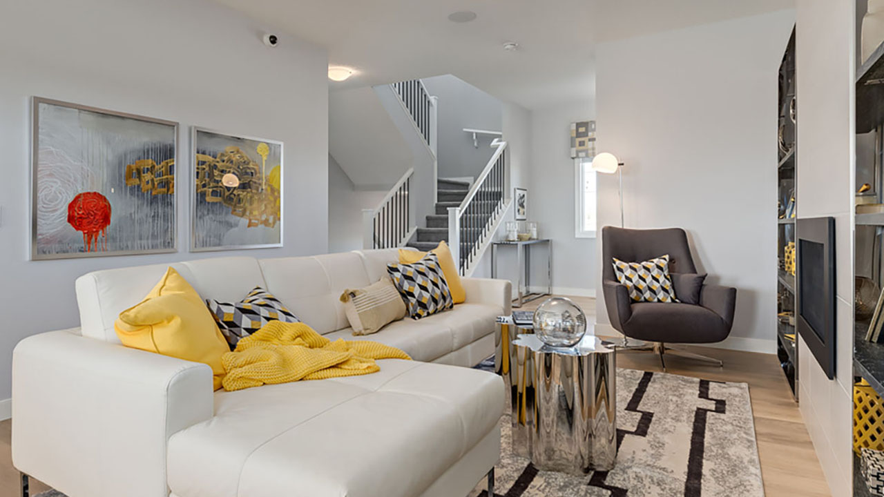 A living room in the Ramsay model built by Pacesetter Homes in Calgary.