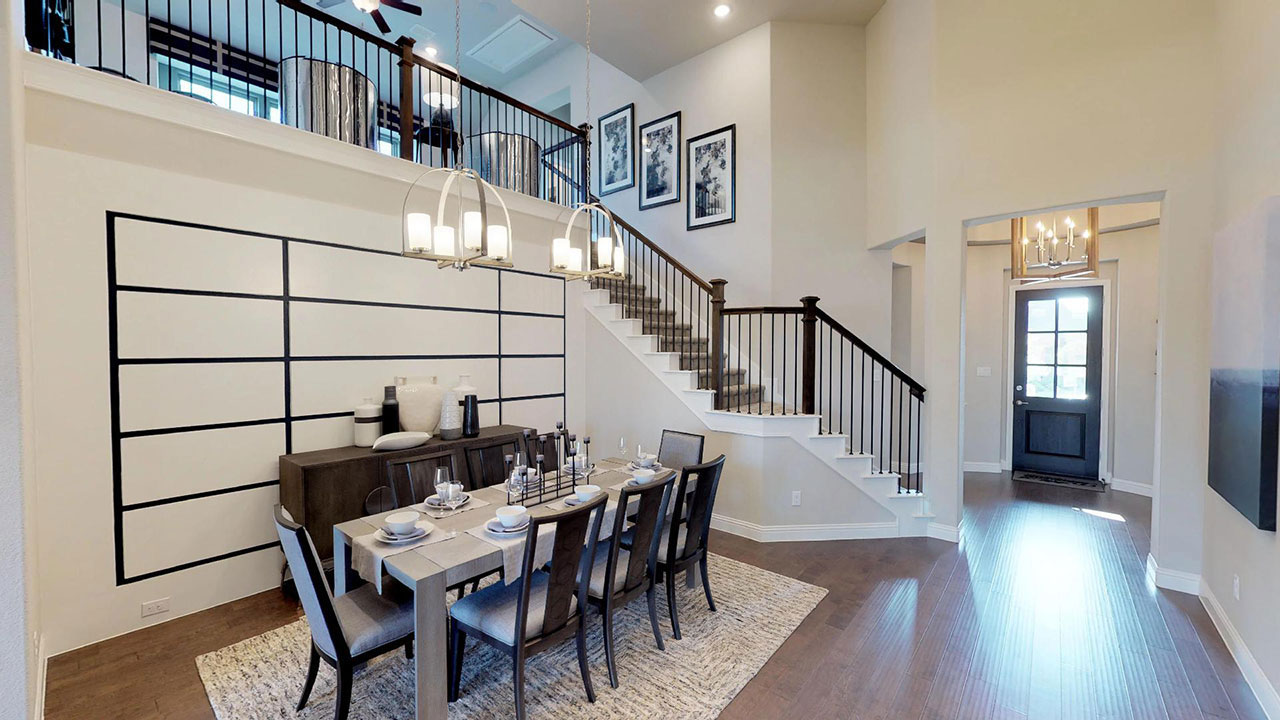 Dining room of the Woodbridge model built by Pacesetter Homes in Dallas