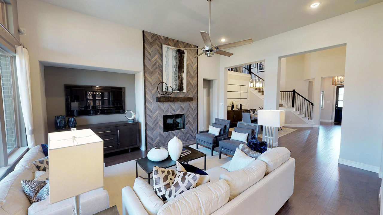 The living room of the Woodbridge model built by Pacesetter Homes in Dallas.