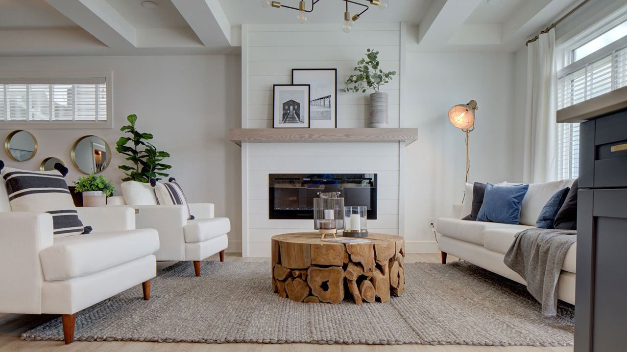 The living room of the Trinity model built by Sterling Homes Edmonton.