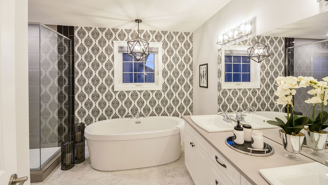 Bathroom in the Newcastle model built by Pacesetter Homes in Regina.