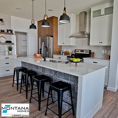 A kitchen in a model built by Montana Homes