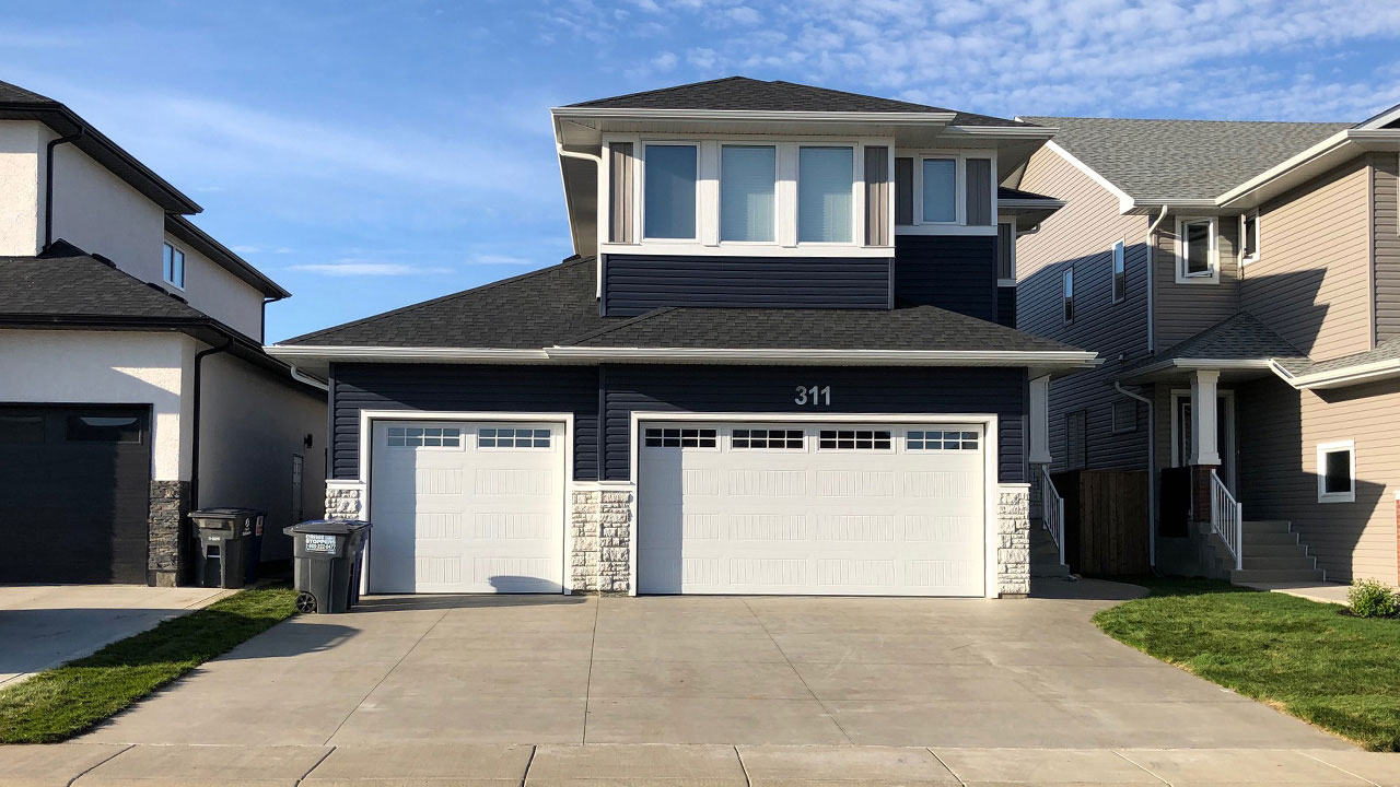 The exterior of the Denali model built by Montana Homes in Saskatoon.