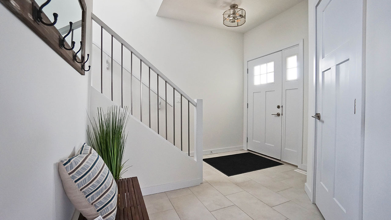 Foyer of the Rainier model built by Montana Homes in Saskatoon.