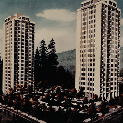 Historical image of Lougheed Towers in Burnaby