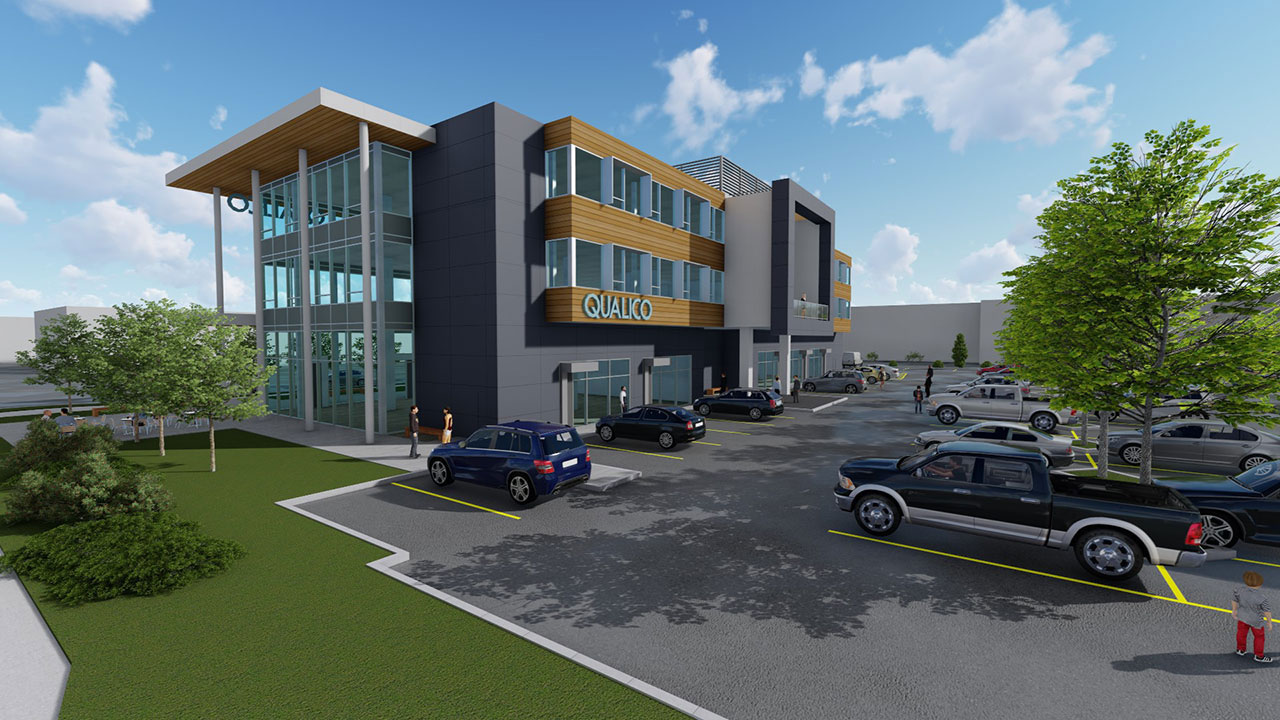 Rendering of new Qualico office in Surrey.