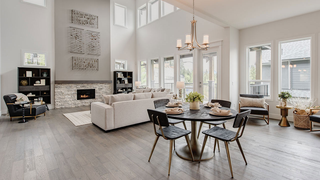 A stunning living room in a Foxridge home in Meadowlark Ridge