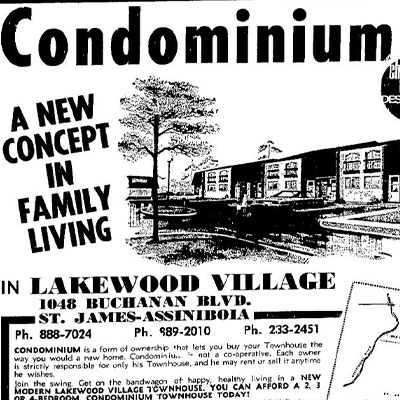 Historical ad for Winnipeg condos