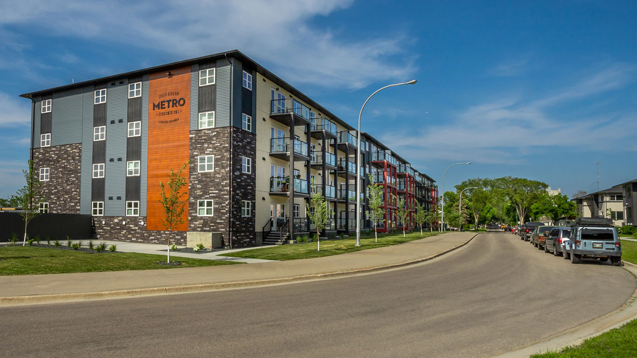 Exterior of The Metro Condominimums in Winnipeg.