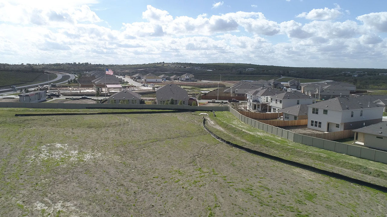 Elevated view of the community of Sun Chase under development.