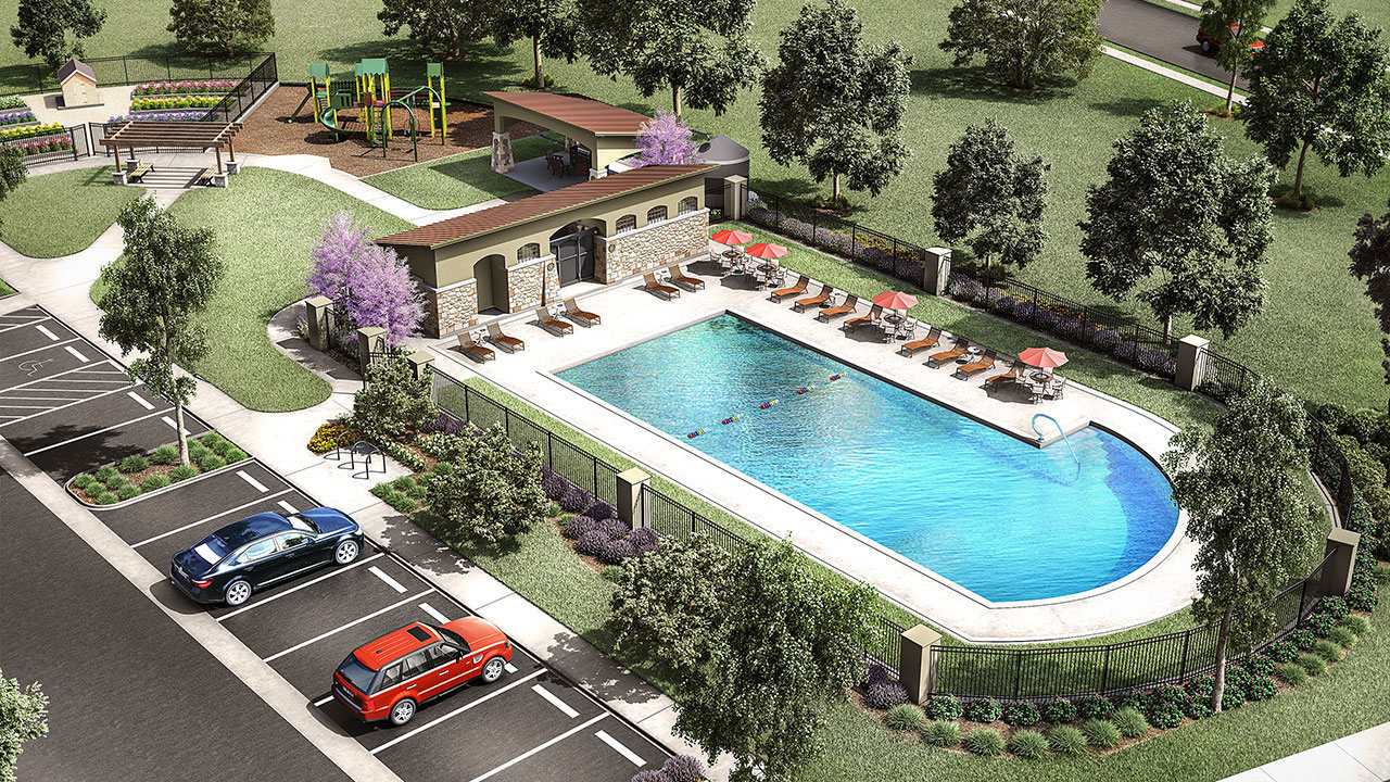 Rendering of the community pool and park in Sun Chase