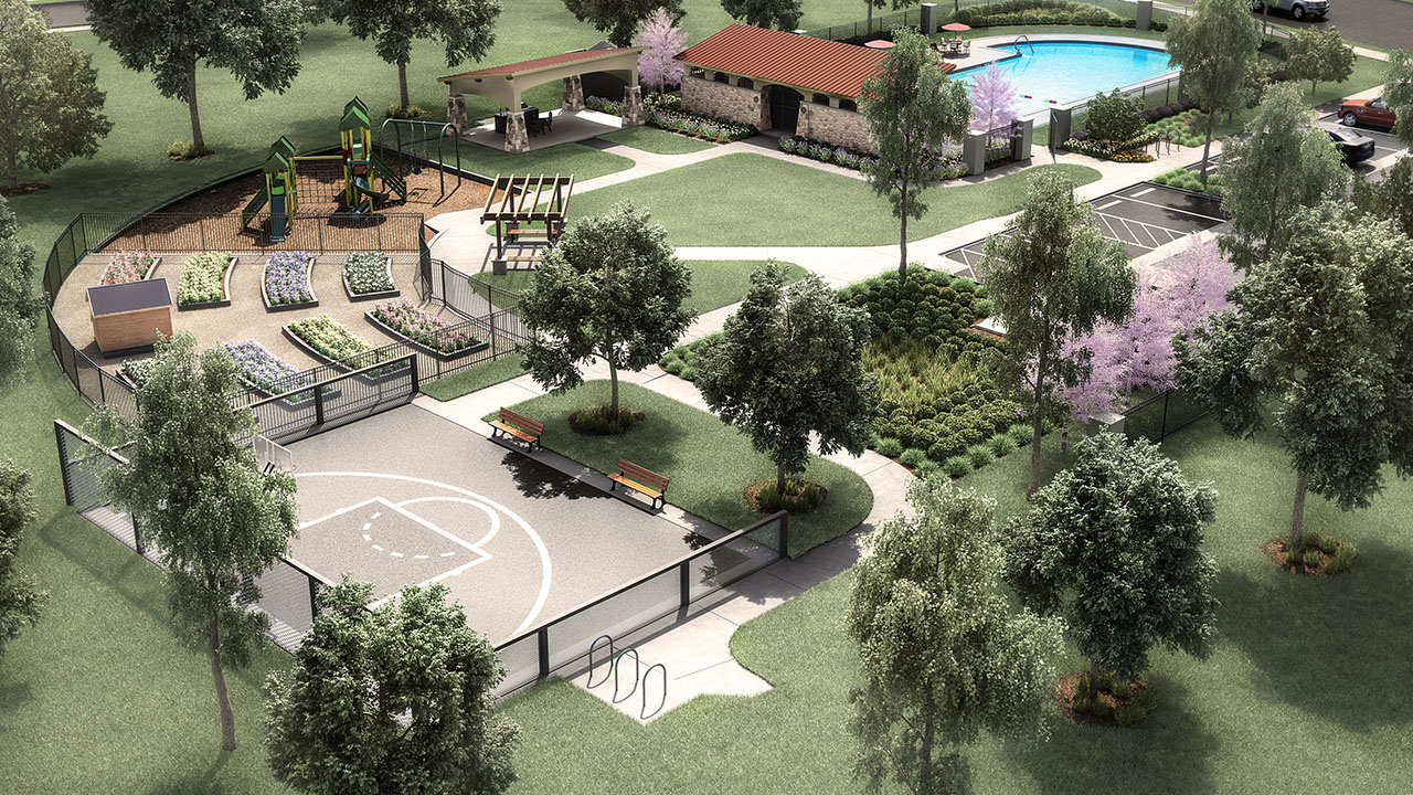 Rendering of the community park in Sun Chase.