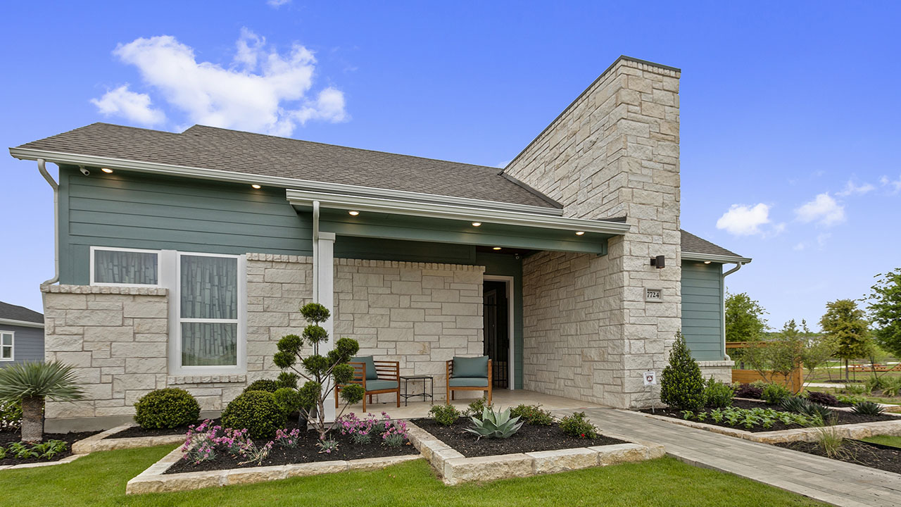 Exterior of the QUADS model by Pacesetter Homes in Austin.