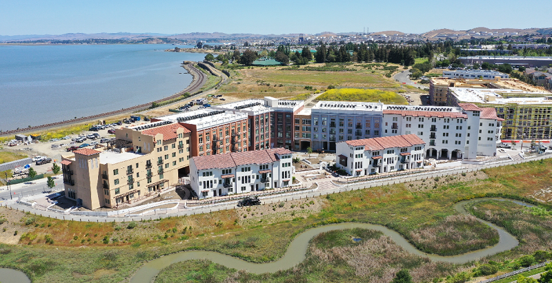 Residential and retail buildings at The Exchange at Bayfront in Hurcules, CA